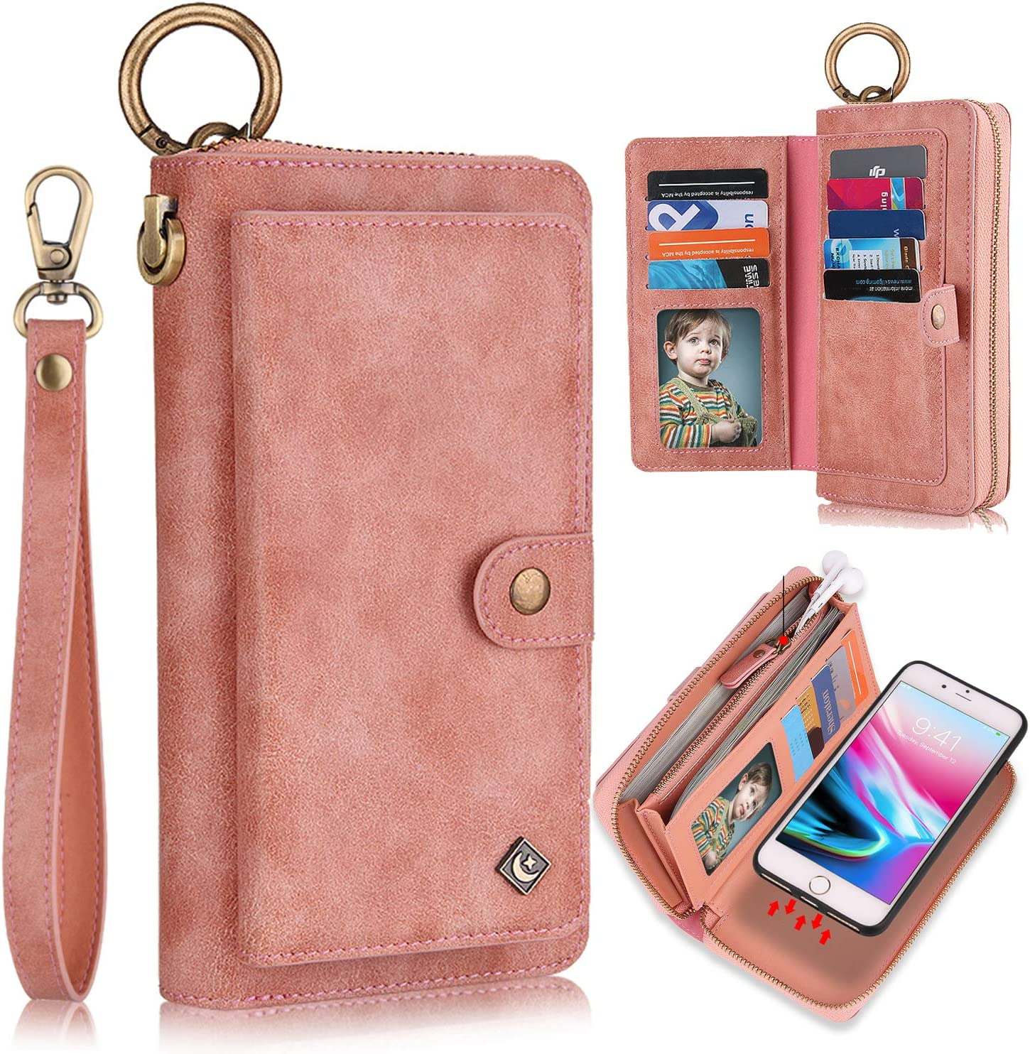 iPhone 7 Case, iPhone 8 Case, iPhone SE 2020 Wallet Case, XRPow [2 in 1] [Magnetic Detachable] Zipper Wallet Folio Case [Wrist Strap] Slim Shock Back Cover with Credit Card Purse (4.7Inch) - Rose Gold