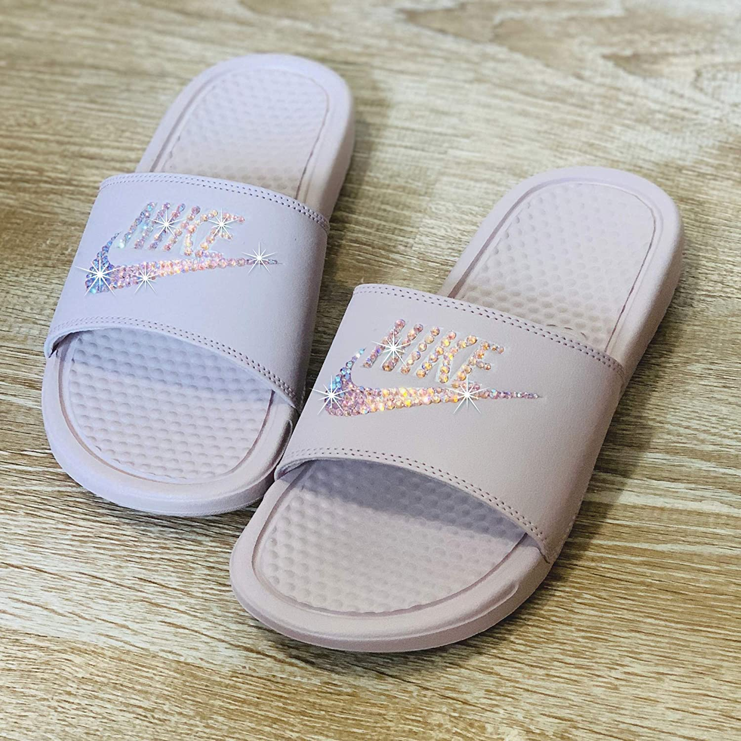 f861cbf0e3a1a Swarovski Nike Slides - Nike Slip On Shoes For Women Rose Color NIKE  Benassi JDI Slides with Crystals Custom Nike Bedazzled Slip On Glitter Kicks