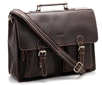 18a5f01433d60 Bovari Herren Echt Leder Aktentasche Laptoptasche Notebooktasche groß (15