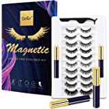 EARLLER Magnetic Eyelashes with Eyeliner Kit,10 Pairs Natural Look False Lashes with Applicator - Easy to Apply and No Glue N