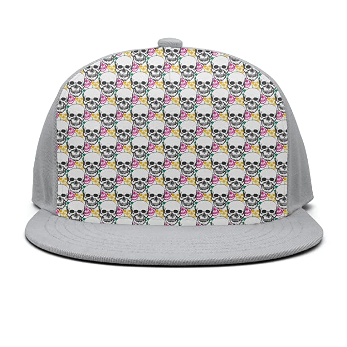 Tkjdadjd Beauty Skulls Casual Hip-Hop Flat Brim Hats Adjustable Flat Hats 3ce28200c4e3
