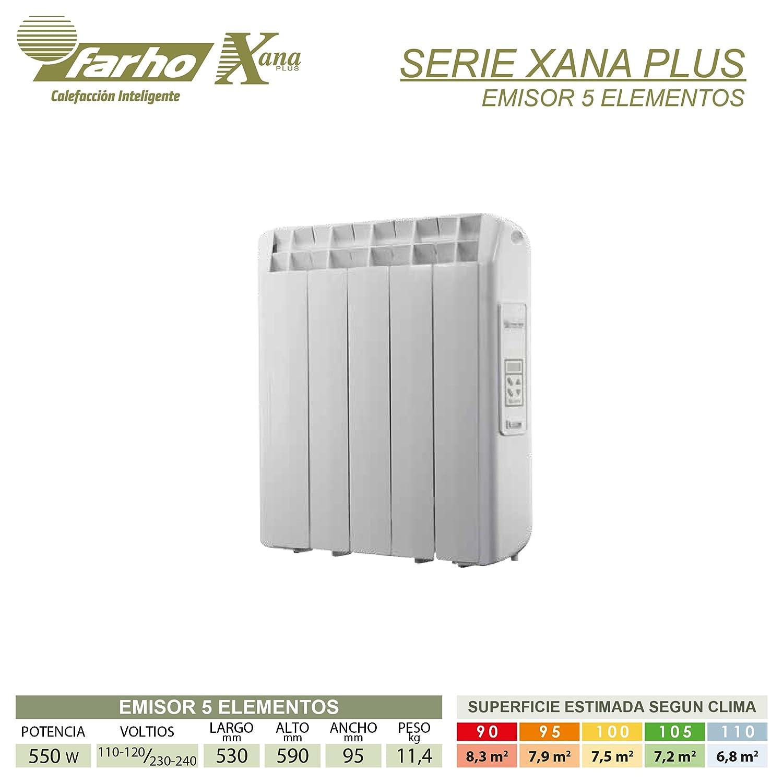 farho XP - Radiador Eléctrico de bajo Consumo 550 W, Digital Programable y opción WiFi - Emisor Térmico Ideal para estancias hasta 8,30 m2-20 AÑOS DE ...