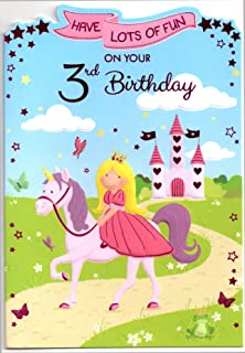 Princess birthday card for nine 9 year old girl free 1st class birthday card for three 3 year old girl free 1st class post bookmarktalkfo Images