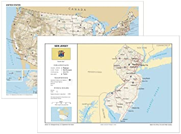 Amazon.com : 13x19 New Jersey and 13x19 United States ...