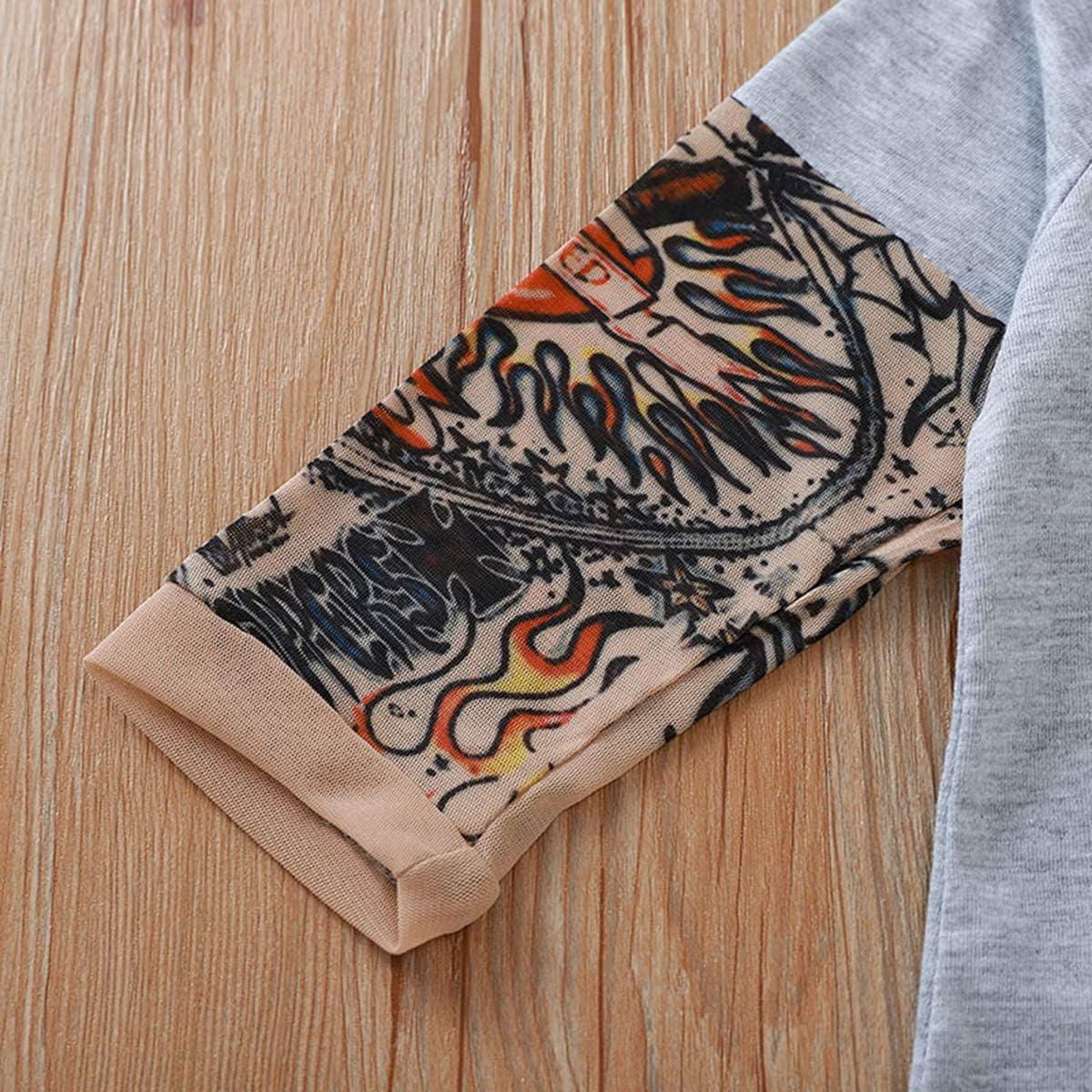 DaMohony Tutina da neonato con stampa tipo tatuaggio sulle maniche lunghe per maschi e femmine