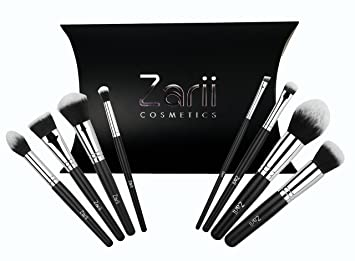 acb2f1694fc4 Makeup Brush Set by Zarii Cosmetics Professional Essentials Kit with  Airbrush Like Finish Affordable...