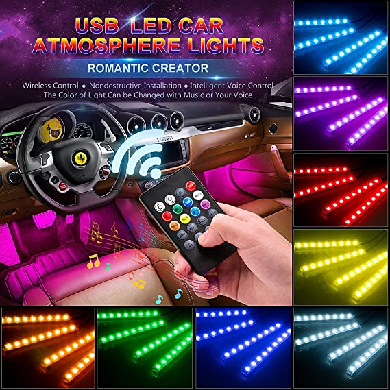 Amazon wsiiroon car led interior lights usb port 4pcs 48 led wsiiroon car led interior lights usb port 4pcs 48 led wireless remote control multicolor music aloadofball Gallery