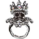 Halloween Costume Jewelry Crystal Skull With Crown Stunning Stretch Ring Black