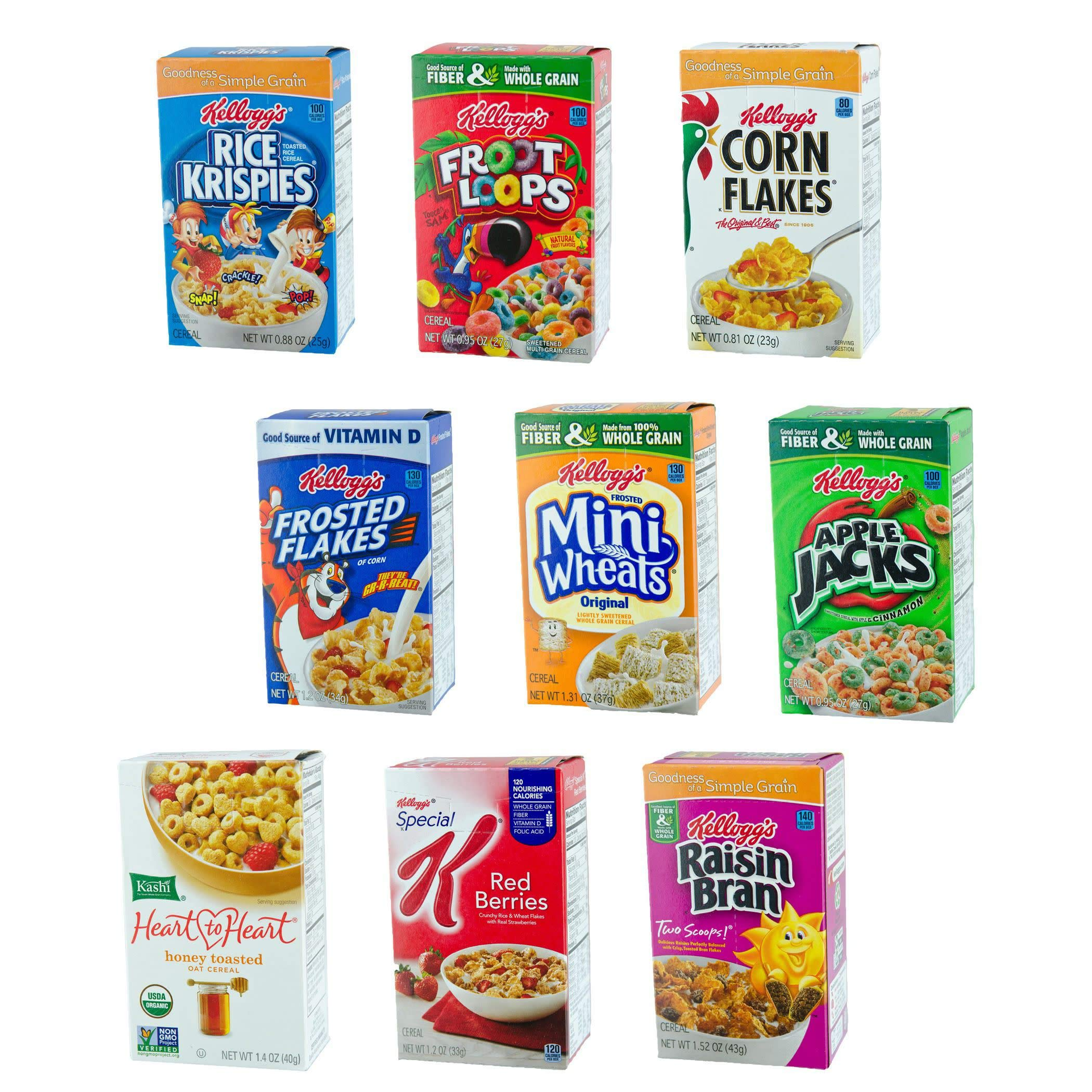 Kellogg's Breakfast Cereal Assortment Variety Pack, Single Serve Boxes, 72 Count