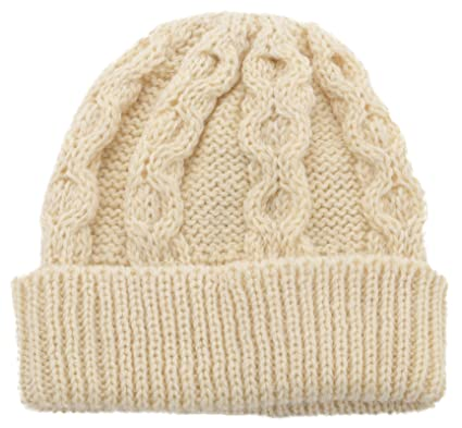 cc963002f Lambland Mens/Ladies 100% Wool Aran Bob Hat Beanie