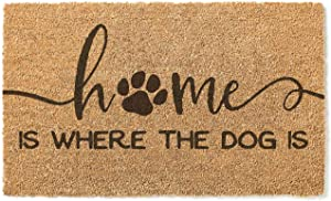Kindred Hearts 18x30 Coir Doormat Home is Where The Dog is, Multicolor