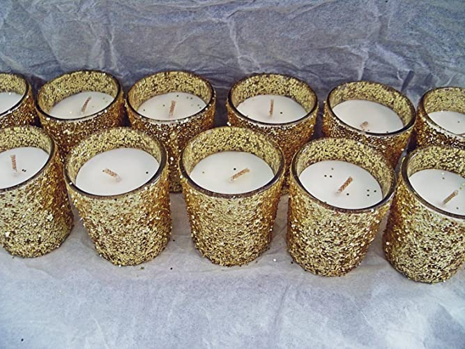 Amazon 12 Gold Glitter Decorated Glass Votive Candles Home