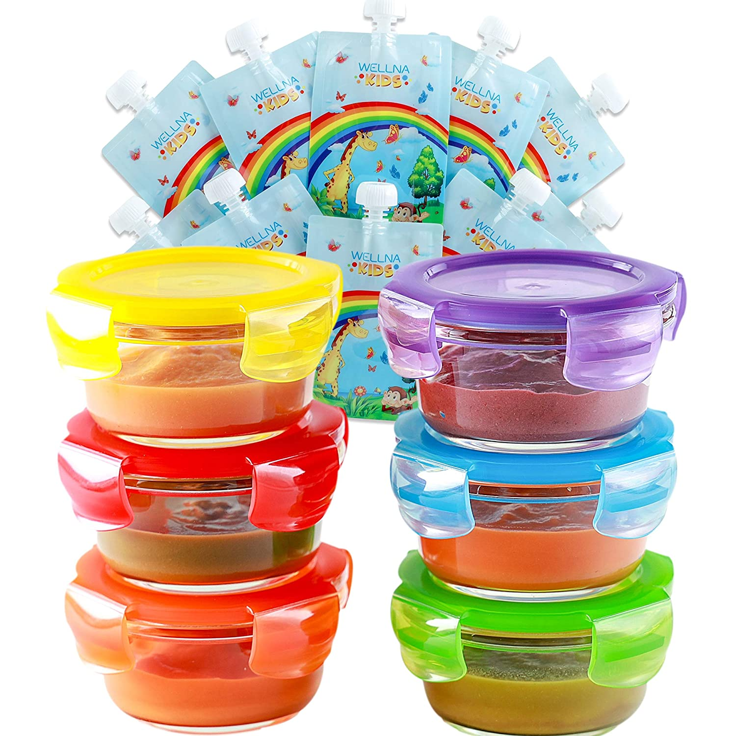 Glass Baby Food Storage Containers with Airtight Lids & Reusable Food Pouches [6+10 Pack] - BPA Free, Microwave, Freezer, Dishwasher Safe, Homemade Baby Food, Snacks (1 Pack)