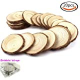 """Goodlucky 20pcs 2""""-2.5"""" Unfinished Natural Wood Slices Circles with Tree Bark Log Discs"""
