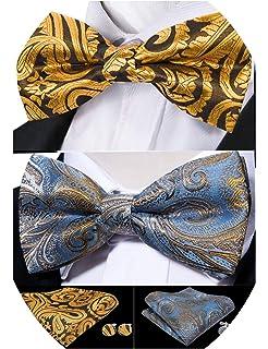 Barry.Wang Men Tie and Bowtie Set with Handkerchief Cufflink Pre-tied Cotton Flower Necktie Formal Wedding Cravat