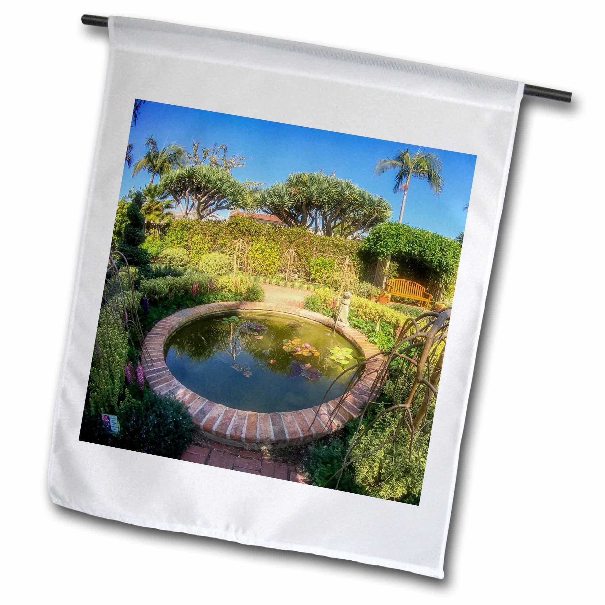 3dRose Boehm Photography Garden - Fountain and Garden - 18 x 27 inch Garden Flag (fl_282342_2)