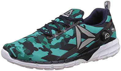 Reebok Women's Zpump Fusion 2.5 Stripes Teal, Emerald, Navy and Silver Running  Shoes -