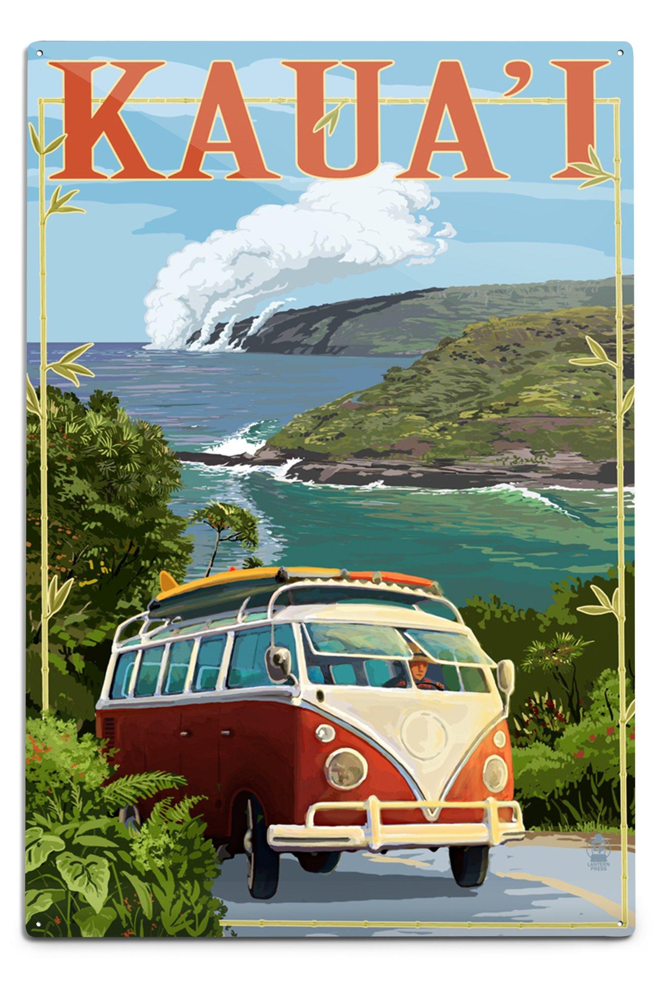 Lantern Press Kauai, Hawaii- Camper Van Coastal (12x18 Aluminum Wall Sign, Wall Decor Ready to Hang)