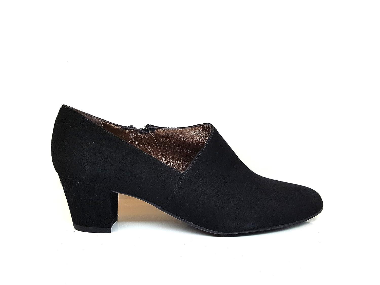 TALLA 43 EU. Gennia KOFICE. - Zapatos Abotinados de Piel con Tacon Cubano 5 cm para Mujer con Cierre de Cremallera