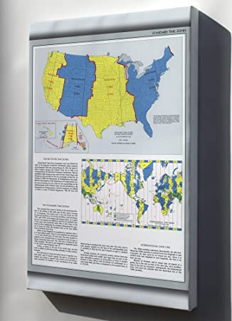Amazon.com : Canvas 24x36; Map Time Zones United States ...