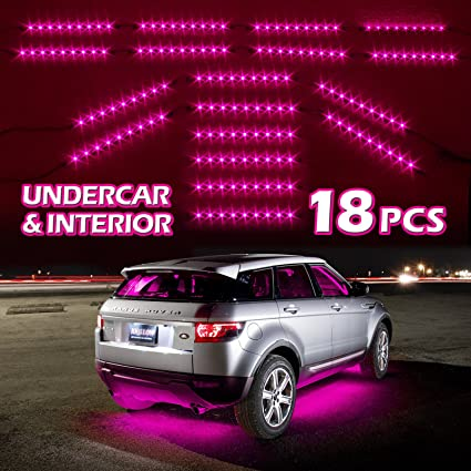 amazon com pink premium 18pcs underglow car interior three mode