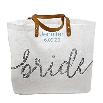 amazon com personalized embroidered mud pie bride wedding tote bag