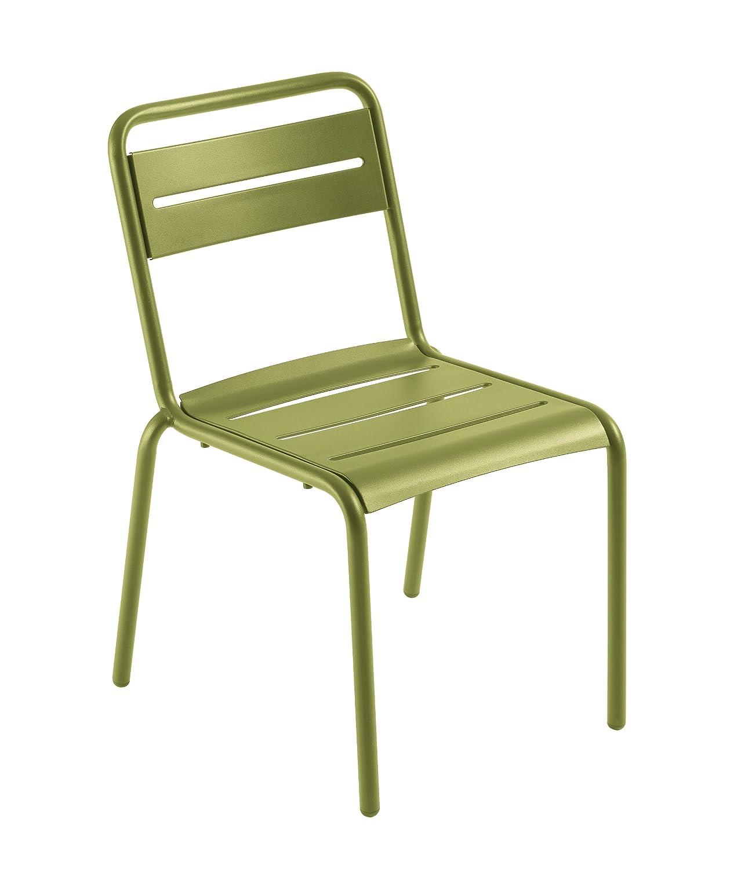 Emu 301616000 Star Stapelstuhl ohne Armlehne 161, pulverbeschichteter Stahl, grün, 4-er Set