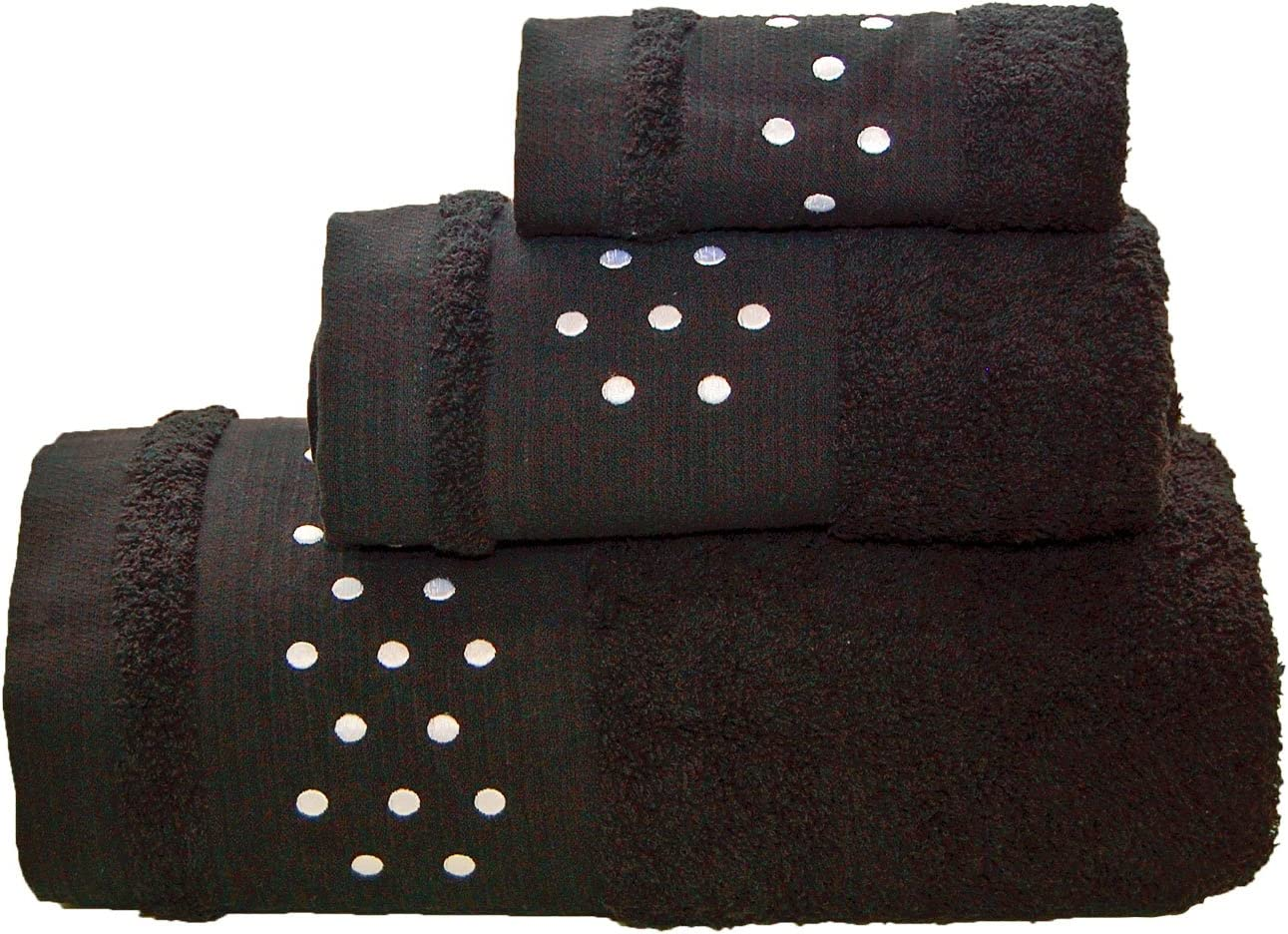 /Juego de toallas de ba/ño W//Blanco y Negro /Toalla de tocador Lunares Toallas De Ba/ño De 3/Piezas/ Toalla de mano +/