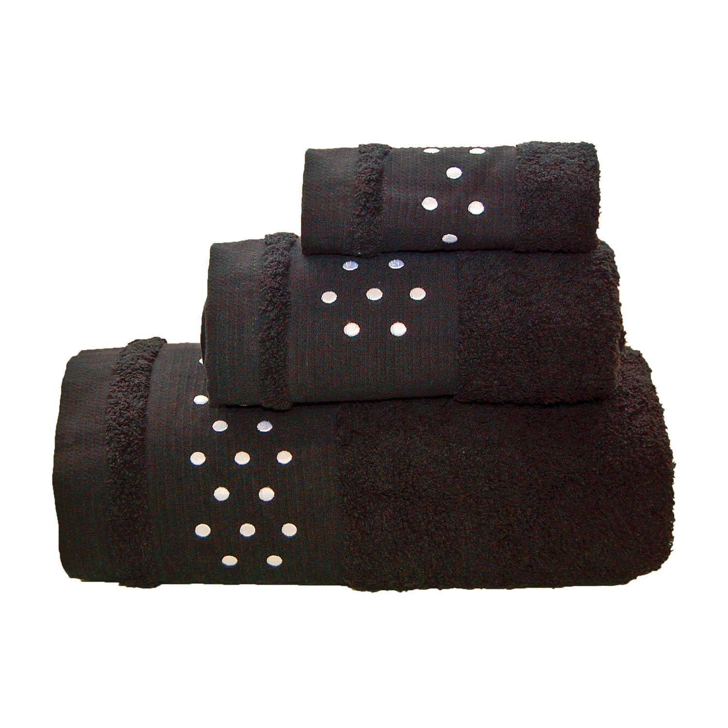 BgEurope Spots Bath Towels - 3 Pieces Set - Bath Sheet + Hand Towel + FACE Towel - Black W/White Maria Teixeira e Andrade Lda