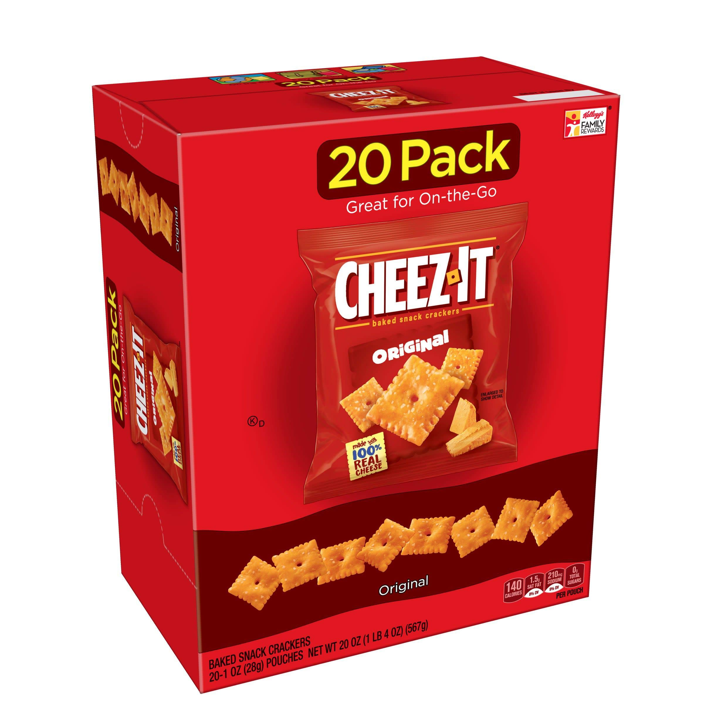 Cheez-It Baked Snack Cheese Crackers, Original, Single Serve, 1 oz Bags(20 Count)