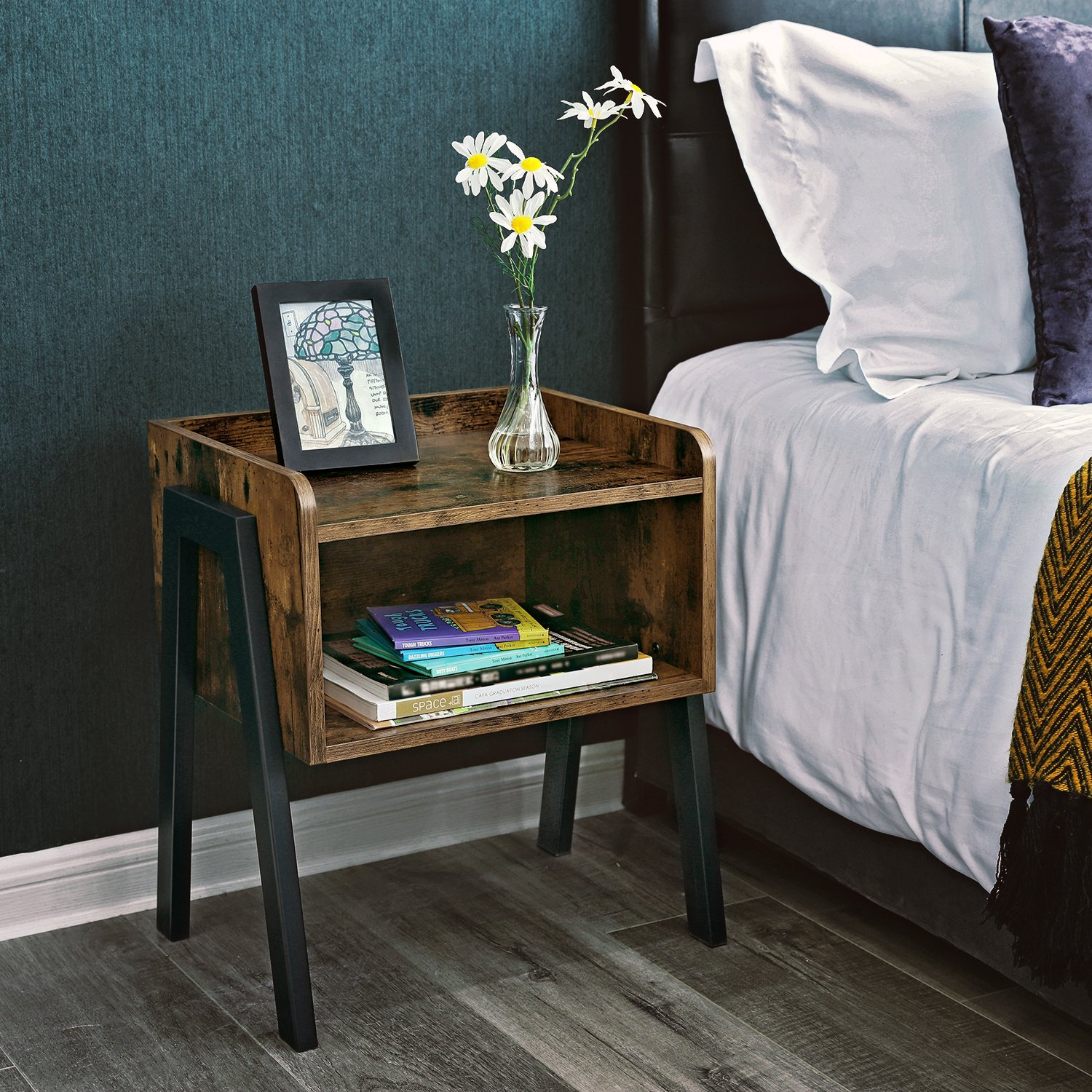 SONGMICS Vintage Nightstand, Stackable End Table, Cabinet