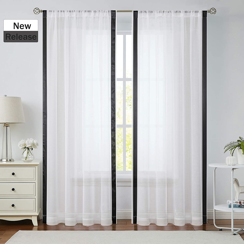 "Jubilantex White Striped Linen Color Block Privacy Semi Sheer Border Curtains, Rod Pocket, Window Treatment Long Living Room & Bedoom, Farmhouse Drapes, 54""x84"", Drapes, 2 Panels, White and Black"