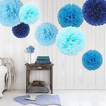 feelshion pcs azul pompn pompones de papel flores de papel bolas de flores para colgar decoracin
