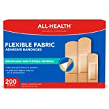 All-Health Flexible Fabric Adhesive Bandages, Assorted Sizes Variety Pack, 200 ct | Flexible Protection for First Aid and Wound Care