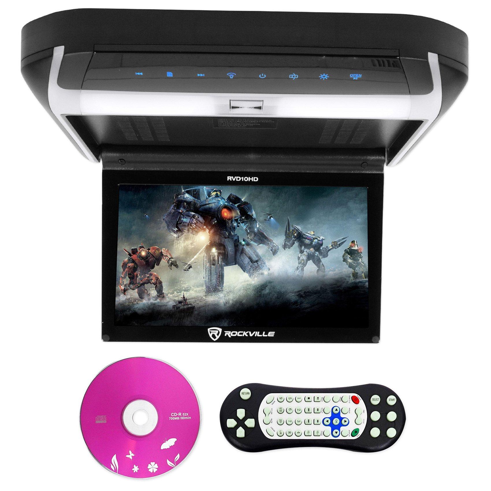 Rockville RVD10HD-BK 10.1'' Flip Down Monitor DVD Player, HDMI, USB, Games, LED by Rockville