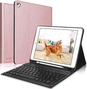 Teclado iPad 10.2 8ª Gen 2020/7ª Gen 2019,Funda con Teclado (Diseño Español Incluye Ñ) Bluetooth Inalámbrico para iPad 10.2/iPad Air 3 /iPad 10.5 ...