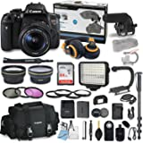 Canon EOS Rebel T6i DSLR Camera Bundle with Canon 18-55mm f/3.5-5.6 IS STM Lens + Professional Video Accessory Bundle includes ECKO Headphones, Microphone, LED Video Light and More.. (27 items)