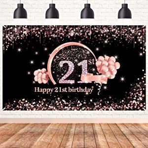 Lnlofen 21st Birthday Banner Backdrop Decorations for Women, Extra Large 21 Birthday Party Poster Supplies, Rose Gold Happy 21 Year Old Birthday Decor Photo Booth Props for Outdoor Indoor