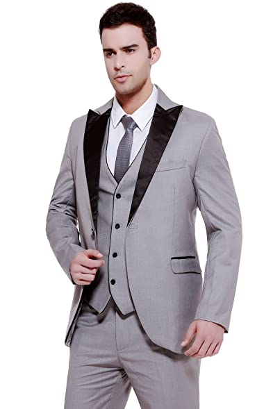 CMDC Men\'s 3-Piece Suit Blazer Jacket Groom Wedding Tux Vest ...