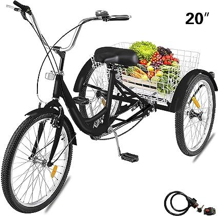 20 Adult Tricycle 3-Wheel 7 Speed Bicycle Trike Cruiser Basket 330lbs
