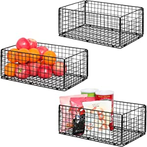 X-cosrack Foldable Cabinet Wall Mount Metal Wire Basket Organizer Pantry Basket with Handles - 3 Pack -16
