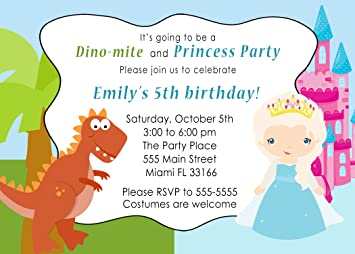 30 Invitations Dinosaur T Rex Winter Princess Girl Boy Birthday Party Personalized Cards