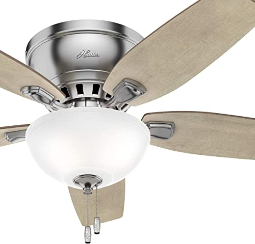 Hunter Fan 46 inch Low Profile Brushed Nickel Indoor Ceiling Fan with Light Kit Renewed