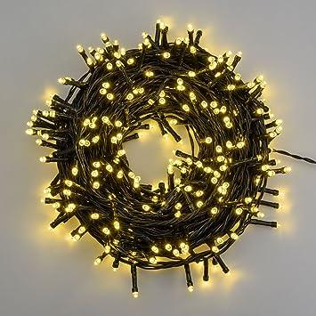 Led lichterkette 25,5 m, 360 leds warmweiß, grünes kabel, mit ...
