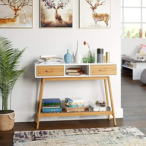 HOMECHO 2 Drawer Console Sofa Table for Entryway Hallway Foyer Desk 2-Tier Display Shelf with Storage Bamboo Shelves Multipurpose Rectangular Modern Cabinet Table for Living Room,Dining Room