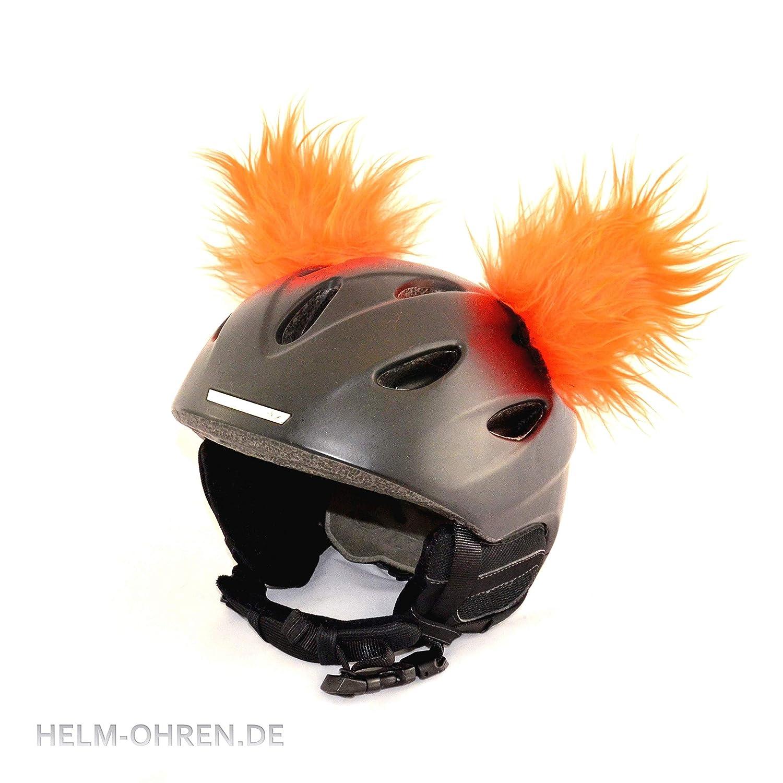 Helm-Ohren für Skihelm, Snowboardhelm, Kinder-helm, Kinder-Skihelm, Motorradhelm oder Fahrradhelm - verwandelt den Helm in ein EINZELSTÜCK - der HINGUCKER - für Kinder und Erwachsene HELMDEKO (Orange)