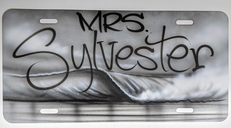 White /& Gray Beach Scene Black Airbrush Aluminum Car tag Personalized