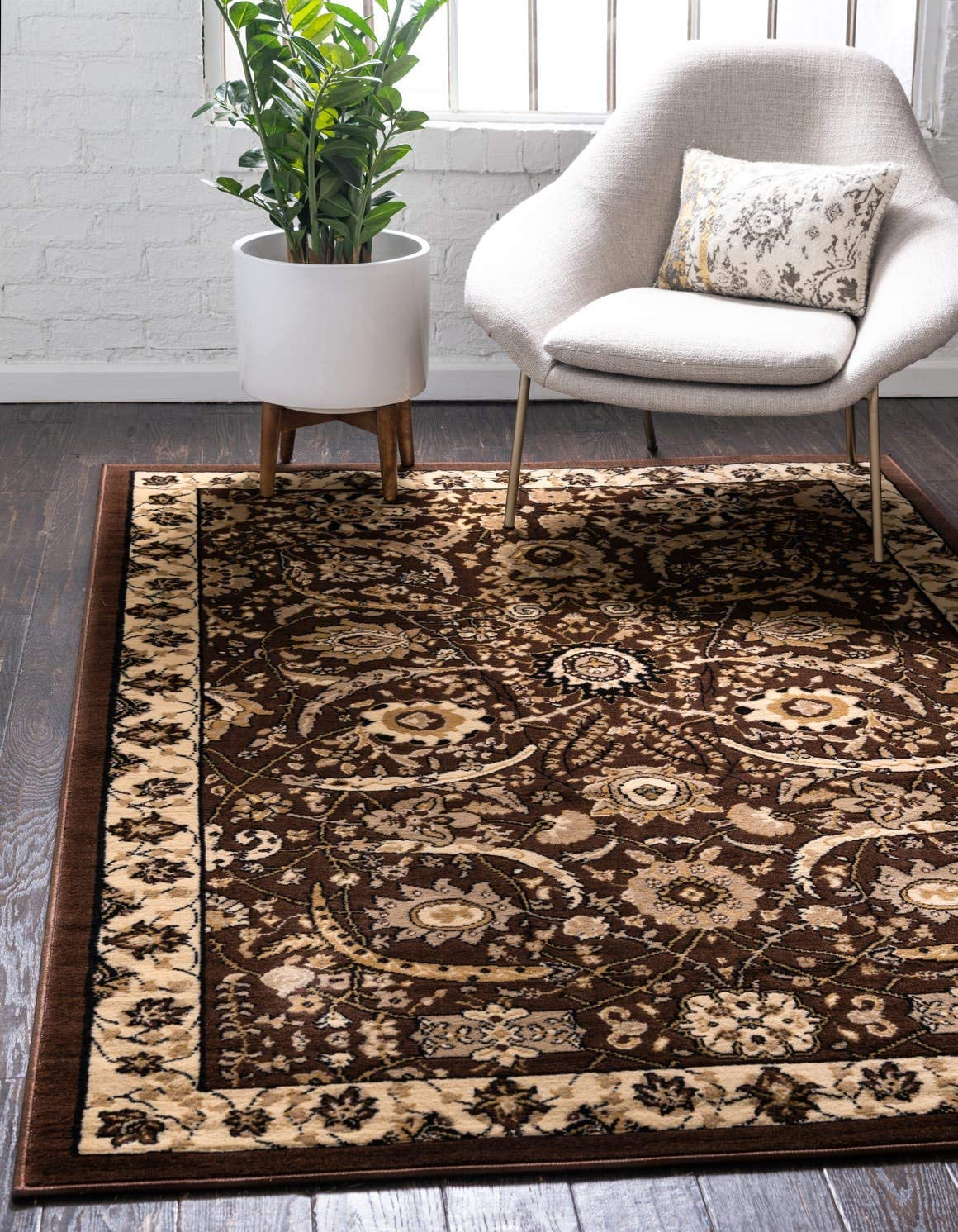 Unique Loom Espahan Collection Classic Traditional Brown Area Rug 6 0 x 9 0
