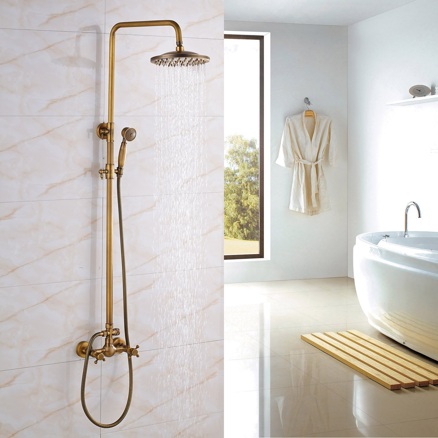 Rozin Bathroom 2 Knobs Mixer Rainfall Shower Faucet Units with Hand Spray Antique Brass by Rozin (Image #2)