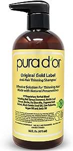 Pura d'or Gold Label Anti-Hair Loss Bundle Gold Label Anti-Hair Loss Shampoo 16 Fluid Ounce